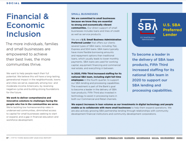 page from Fifth Third's 2020 ESG report on Financial & Economic Inclusion