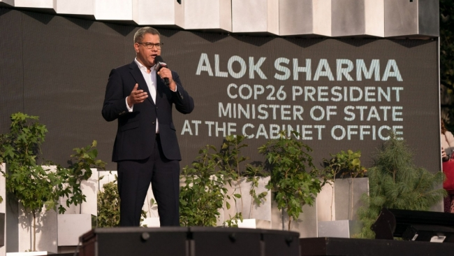 COP26 President Alok Sharma urges world leaders to tackle climate change at Global Citizen Live in New York City on Sept. 25, 2021. | Ryan Muir for Global Citizen