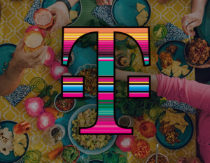 table of food with T-Mobile logo