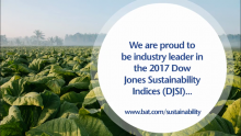 British American Tobacco is the Tobacco Industry Leader in the 2017 Dow Jones Sustainability Indices (DJSI)