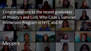 Moody's Congratulates the Participants in Girls Who Code Who Completed Their Summer Immersion Program